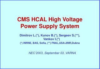 NEC'2003 ,  September  0 3 ,  VARNA