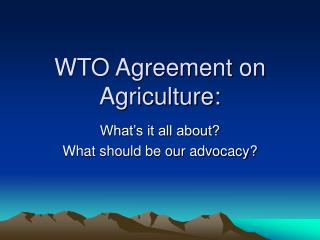 WTO Agreement on Agriculture: