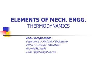 ELEMENTS OF MECH. ENGG.     THERMODYNAMICS