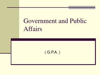 Government and Public Affairs