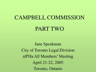 CAMPBELL COMMISSION PART TWO