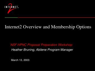 Internet2 Overview and Membership Options