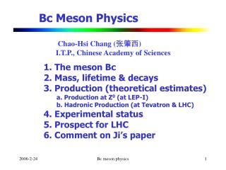 Bc Meson Physics