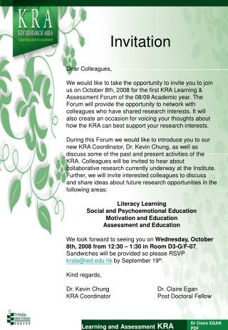 Learning and Assessment  KRA