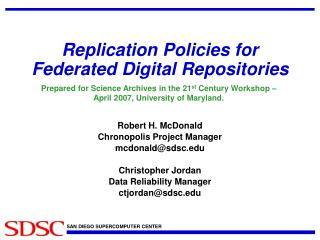Replication Policies for Federated Digital Repositories