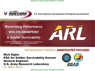M aximizing Performance With HSI/MANPRINT & Soldier Survivability