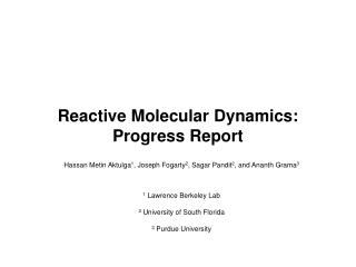 Reactive Molecular Dynamics: Progress Report