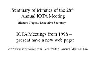 IOTA Meetings from 1998 – present have a new web page: