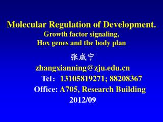 Molecular Regulation of Development.   Growth factor signaling, Hox genes and the body plan