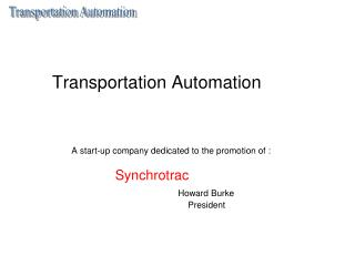 Transportation Automation