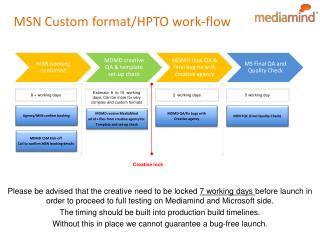 MSN Custom format/HPTO work-flow