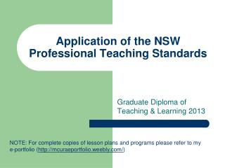 Application of the NSW Professional Teaching Standards