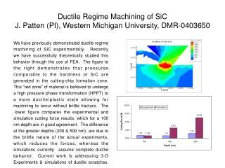 Ductile Regime Machining of SiC J. Patten (PI), Western Michigan University, DMR-0403650
