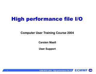 High performance file I/O