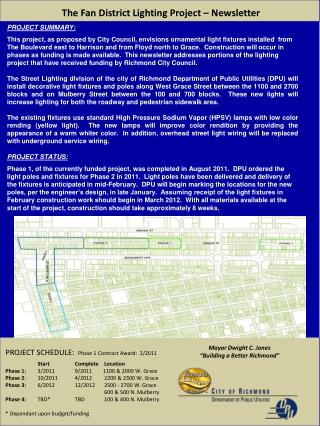 The Fan District Lighting Project – Newsletter