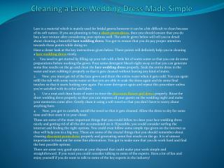 Cleaning a Lace Wedding Dress Made Simple