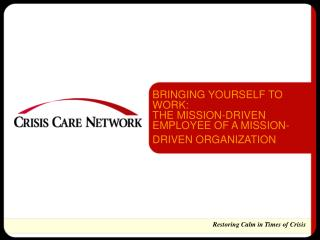 BRINGING YOURSELF TO WORK:  THE MISSION-DRIVEN EMPLOYEE OF A MISSION-DRIVEN ORGANIZATION