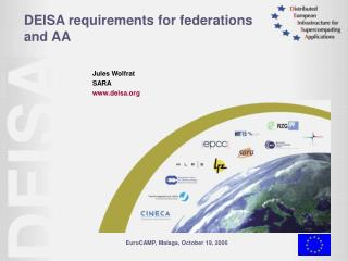 DEISA requirements for federations and AA