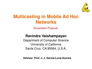 Multicasting in Mobile Ad Hoc Networks