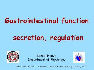 Gastrointestinal function    secretion, regulation