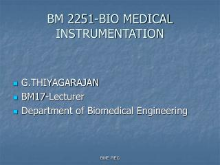 BM 2251-BIO MEDICAL INSTRUMENTATION