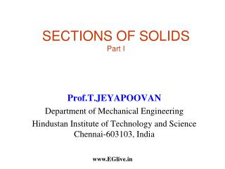 SECTIONS OF SOLIDS  Part I