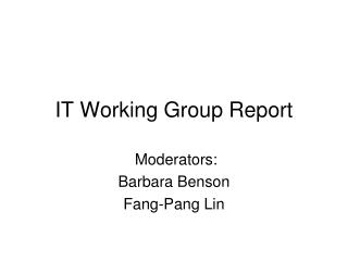 IT Working Group Report