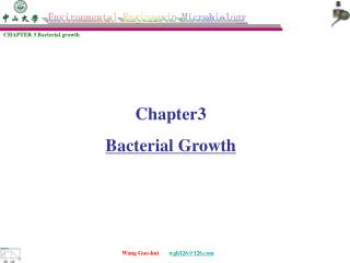 Chapter3  Bacterial Growth