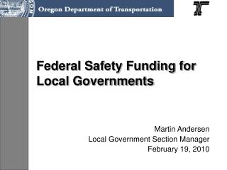 Federal Safety Funding for Local Governments