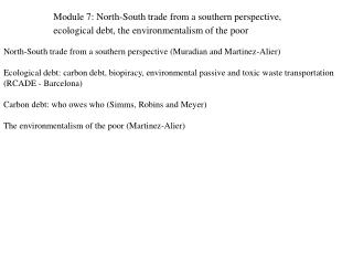 North-South trade from a southern perspective (Muradian and Martinez-Alier)