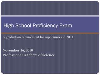 High School Proficiency Exam
