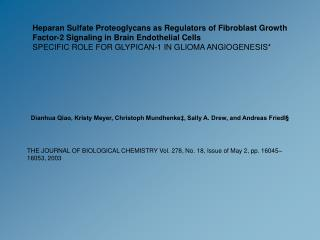 Heparan Sulfate Proteoglycans as Regulators of Fibroblast Growth