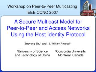 A Secure Multicast Model for Peer-to-Peer and Access Networks Using the Host Identity Protocol