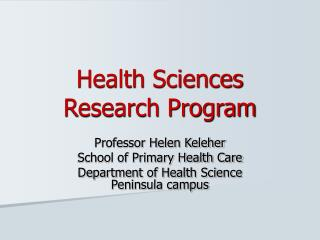 Health Sciences Research Program