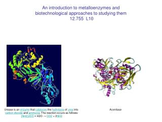 An introduction to metalloenzymes and biotechnological approaches to studying them  12.755  L10