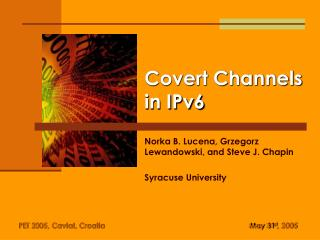Covert Channels in IPv6