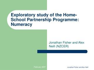 Exploratory study of the Home-School Partnership Programme: Numeracy