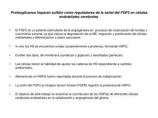 Requerimiento de HS en la señalización del FGF2 en células endoteliales