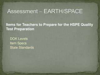 Assessment – EARTH/SPACE