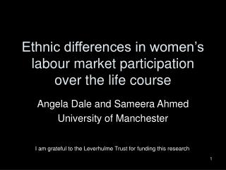 Ethnic differences in women's labour market participation over the life course