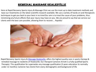 Remedial Massage Healesville