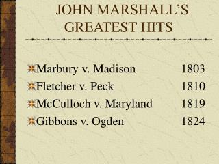 JOHN MARSHALL'S                                 GREATEST HITS