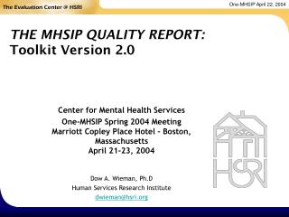 THE MHSIP QUALITY REPORT: Toolkit Version 2.0