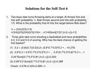 Solutions for the Self-Test 6