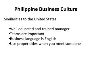 Philippine Business Culture