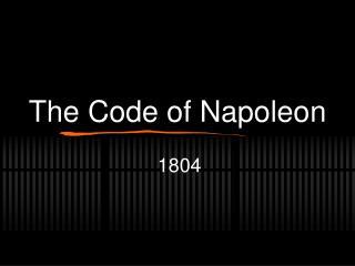 The Code of Napoleon