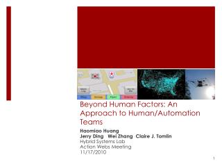 Beyond Human Factors: An Approach to Human/Automation Teams