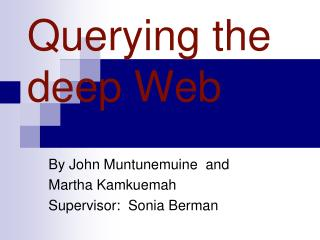 Querying the deep Web