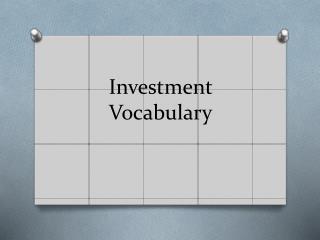 Investment Vocabulary