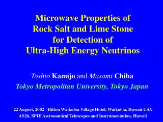 Microwave Properties of Rock Salt and Lime Stone for Detection of Ultra-High Energy Neutrinos